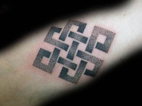 Mens Endless Knot Tattoo With Dotwork Design Style
