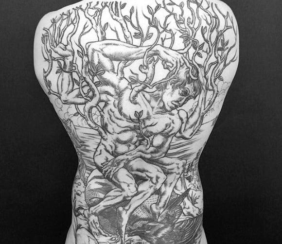 Mens Epic Full Back Tree Man Tattoo Design Inspiration