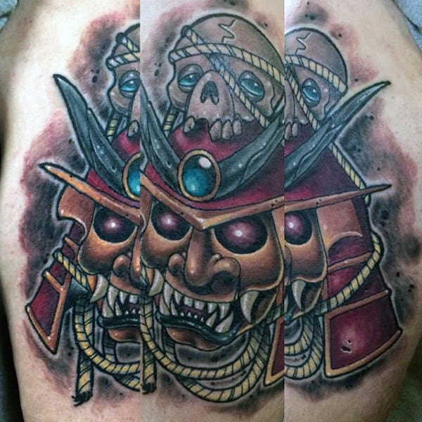 Mens Evil Samurai Mask With Skull Thigh Tattoo