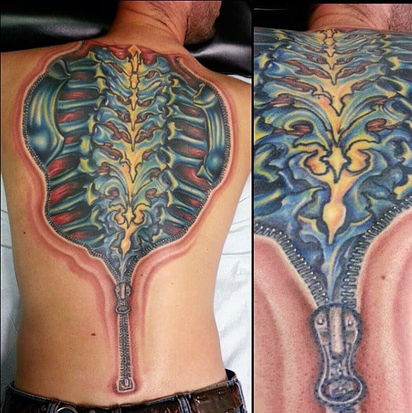Mens Exposed Spine Back Tattoo With Zipper Design 3d