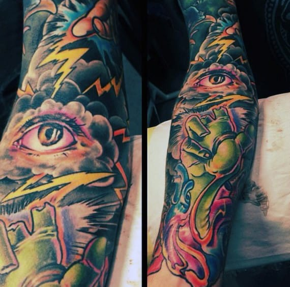 Mens Eye And Lightning Tattoo Sleeve