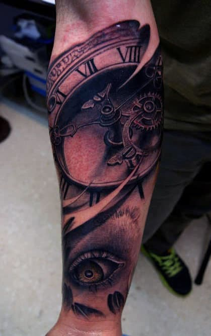 Men's Eye Clock Tattoo Designs