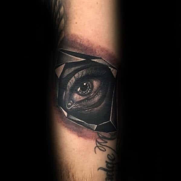 Mens Eye In Crystal Forearm Tattoo