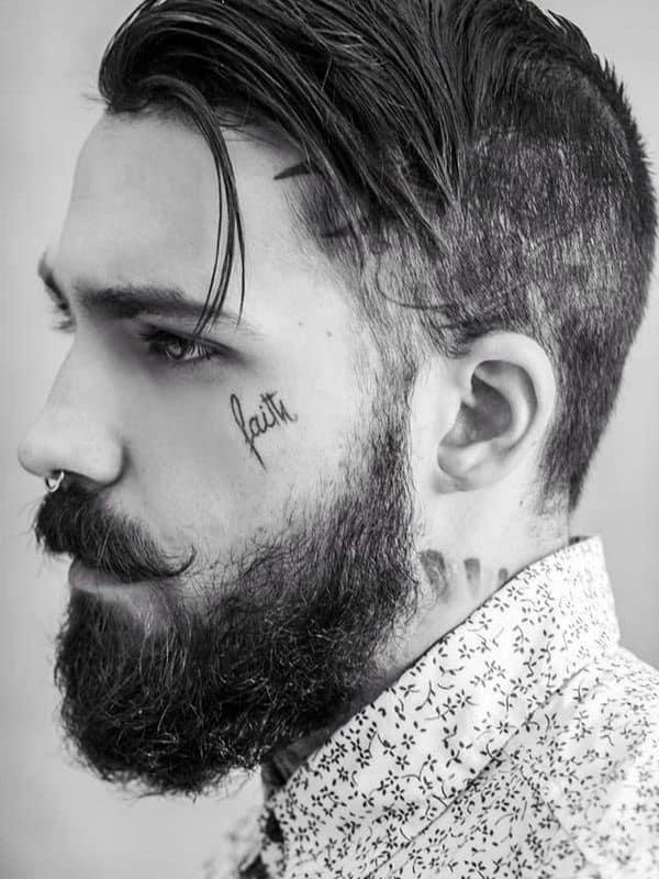 Mens Faith Word Cursive Face Tattoos