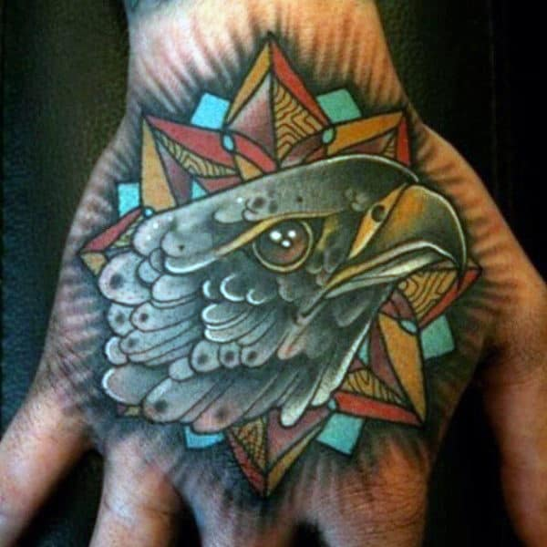 Mens Falcon Head With Geometric Background Hand Tattoo