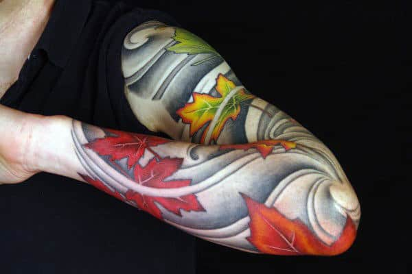 Mens Fall Japanese Leaves Blowing In The Wind Sleeve Tattoo