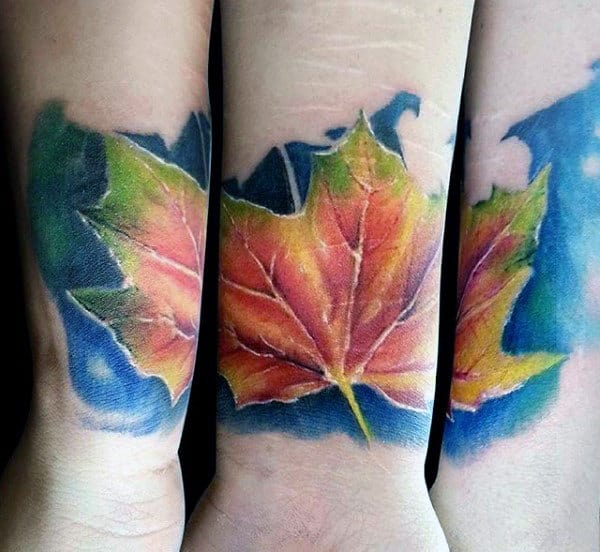 Mens Fall Leaf Watercolor Small Wrist Tattoos