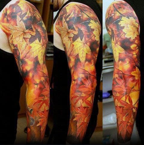 Mens Fall Leaves Camouflage Full Sleeve Tattoo Design