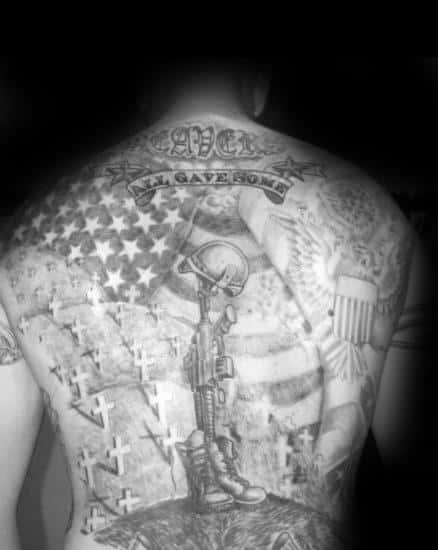 Mens Fallen Soldier Tribute Memorial Themed Full Back Tattoos