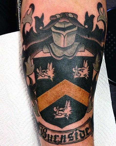 Mens Family Crest Tattoos Ideas Black And Orange