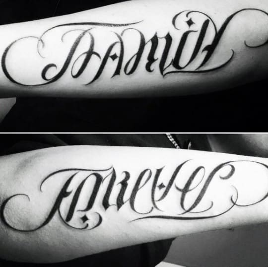 Mens Family Forever Ambigram Tattoo Inspiration