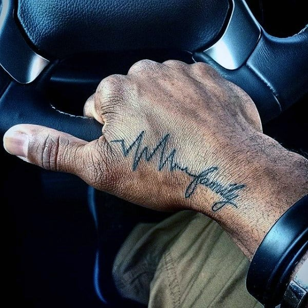 Mens Family Heartbeat Tattoo On Hands