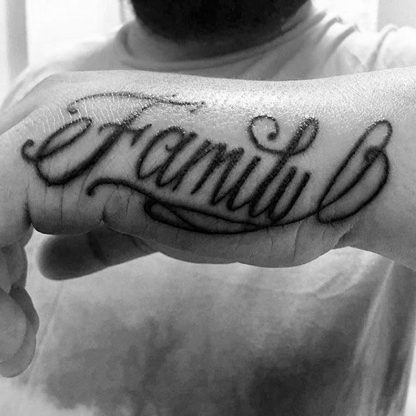 Mens Family Script Side Hand Tattoo Design Inspiration