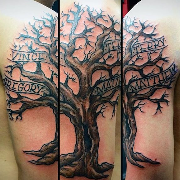 Mens Family Tree Ribbon Arm Tattoos