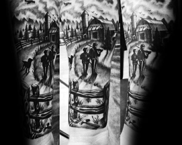 Mens Farming Tattoo