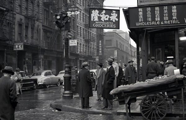 Mens Fashion In 1950s Businessmen Wearing Fine Suits And Hats Downtown