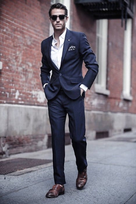 Mens Fashion Inspiration Navy Blue Suit Brown Shoes Styles Without Tie