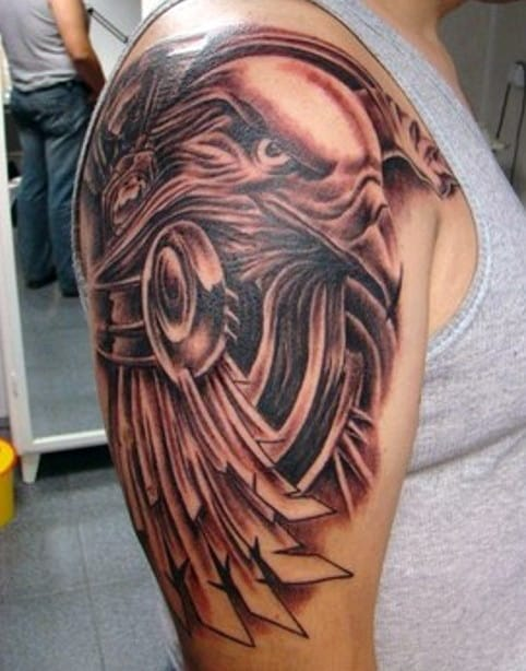 Men's Feather Into Birds Tattoo
