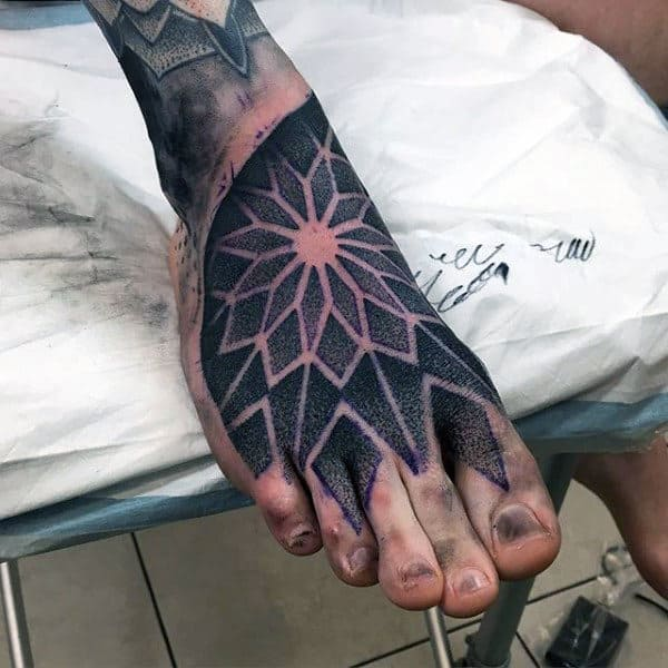 Mens Feet Floral Dotwork Tattoo