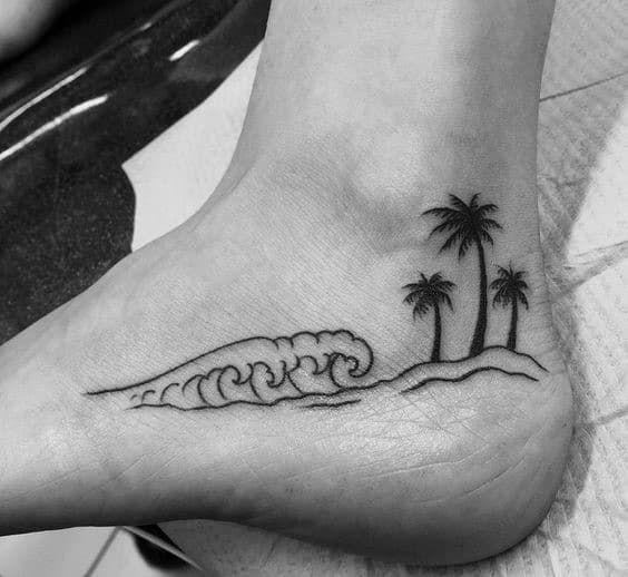 Mens Feet Palm Trees And Surf Tattoo