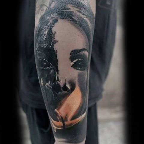 Mens Female Candle Light Flame Sleeve Forearm Tattoo Design Ideas