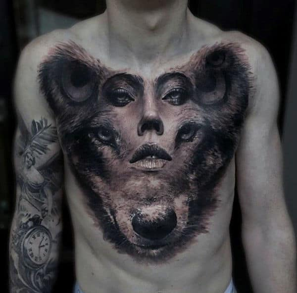 Mens Female Portrait Optical Illusion Wolf Amazing Chest Tattoo