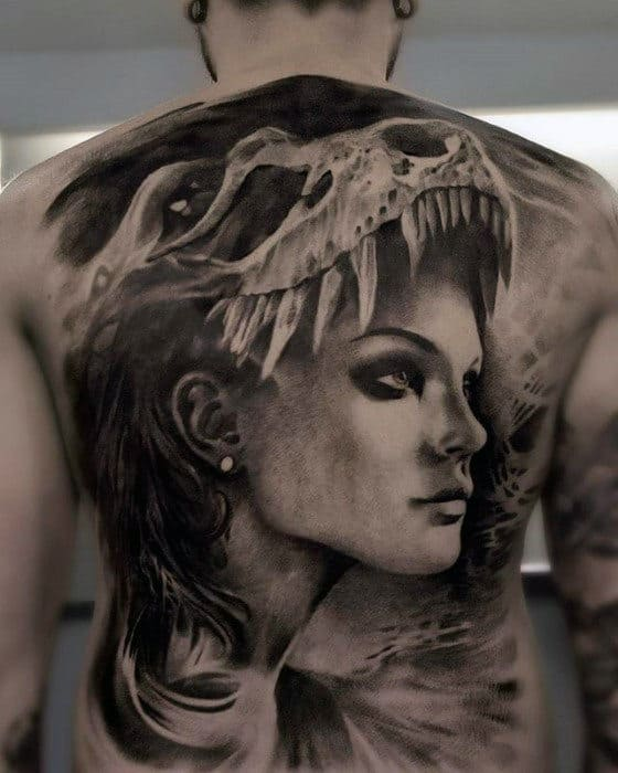 Mens Female Portrait With Animal Skull Head Badass Back Tattoo