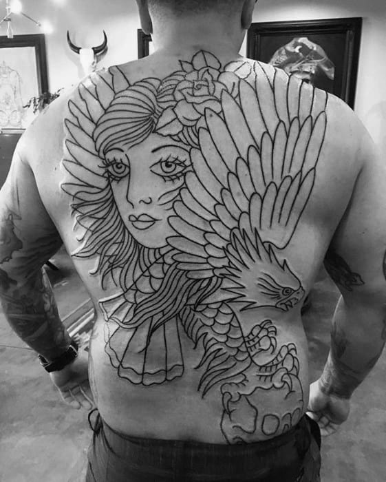 Mens Female Portrait With Flying Eagle Back Tattoo