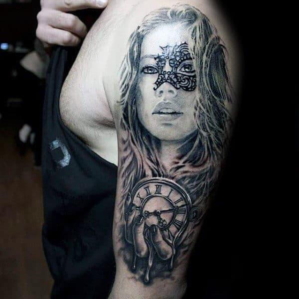 Mens Female Portrait With Melting Clock Arm Tattoos