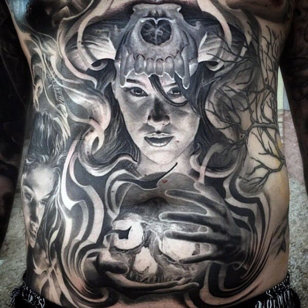 Mens Female With Skull Crazy Full Chest Tattoo Ideas
