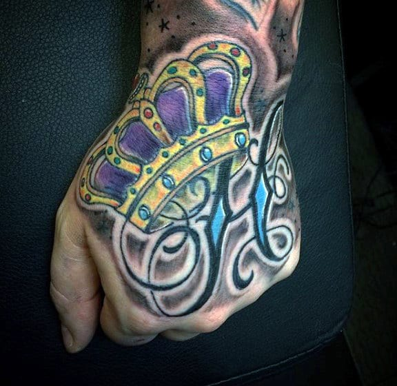 Mens Festive Crown Tattoo On Hands