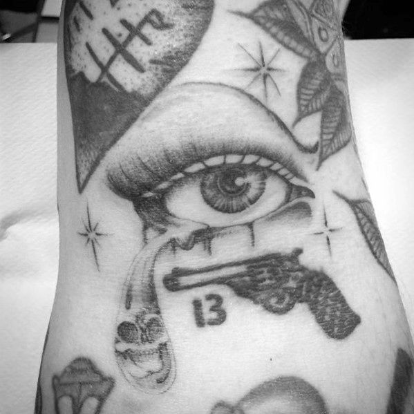 Mens Filler Pistol And Eye Tattoo Ideas
