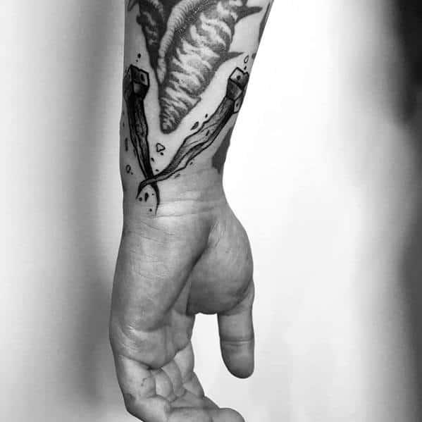 Mens Filler Railroad Spikes Wrist Tattoo