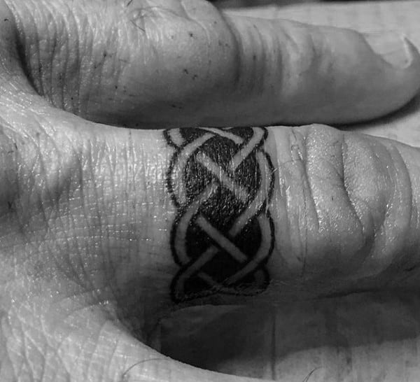 Mens Finger Celtic Knot Ring Tattoos
