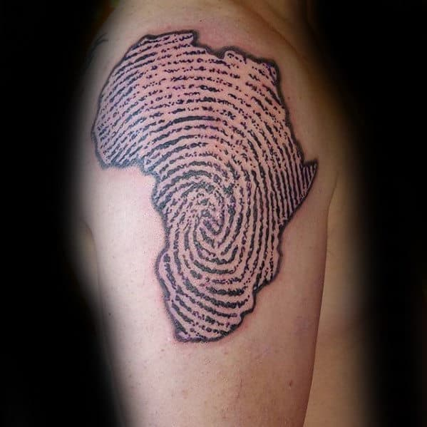 Mens Fingerprint Africa Upper Arm Tattoo