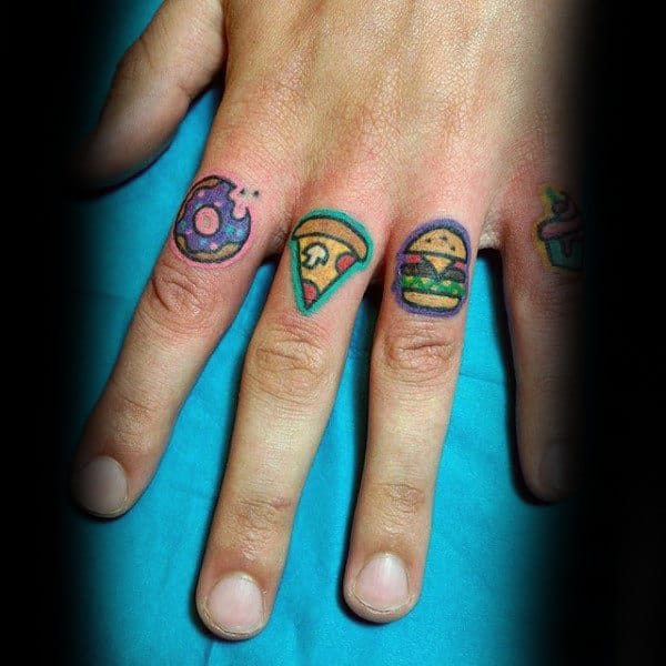 Mens Fingers Cool Small Food Tattoos