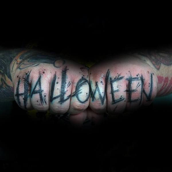 Mens Fingers Halloween Tattoo