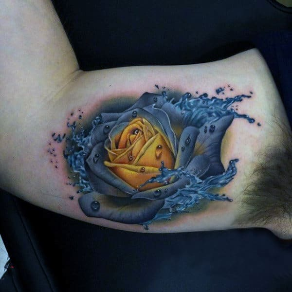 Mens Fire And Water Tattoo With Yellow Rose On Bicep