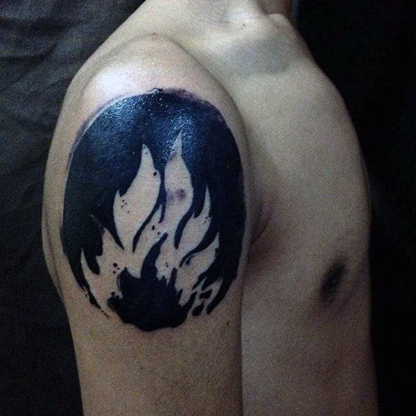 Mens Fire Negative Space Upper Arm Tattoo Black Ink