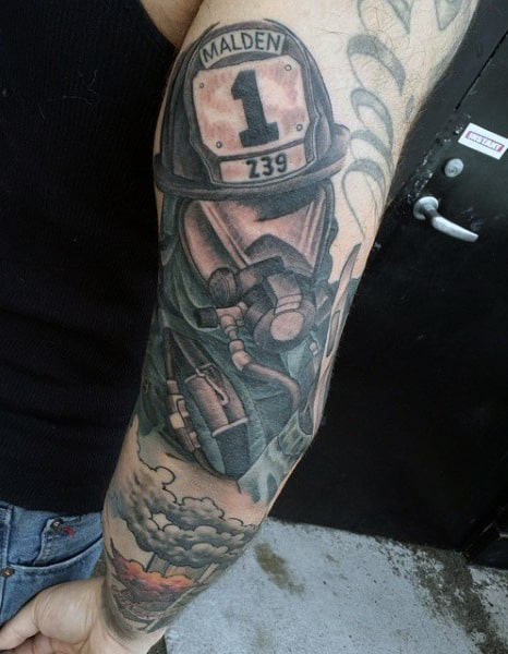 Men's Firefighter Half Sleeve Tattoos