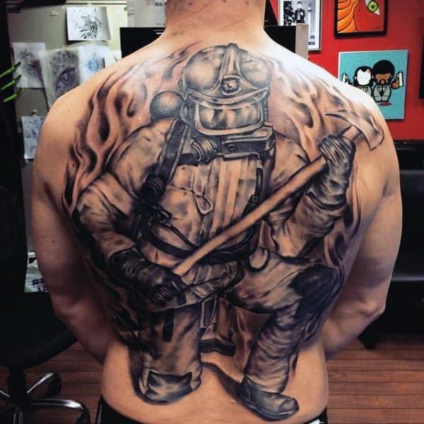 Men's Firefighter Back Tattoo