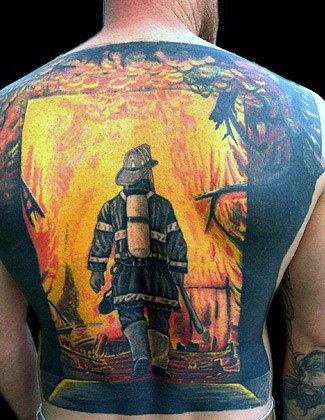 Men's Fireman Back Tattoos Ideas With Flames