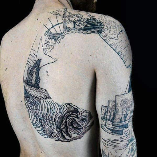 Mens Fish Bones Back Woodcut Tattoo Ideas