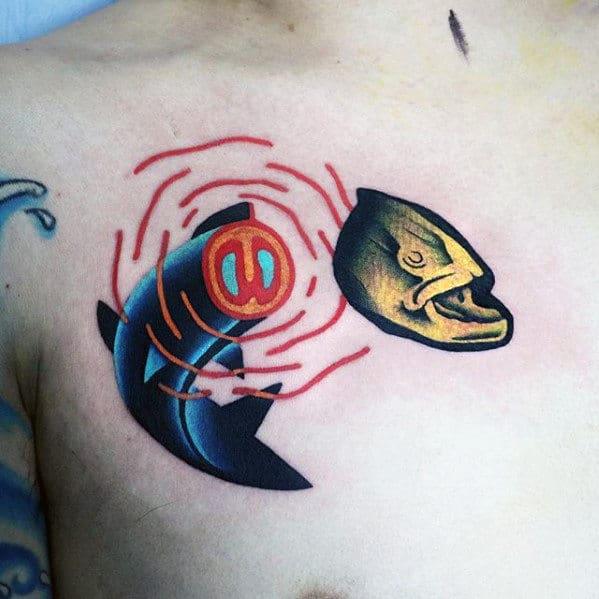 Mens Fish Head Badass Modern Upper Chest Small Tattoos