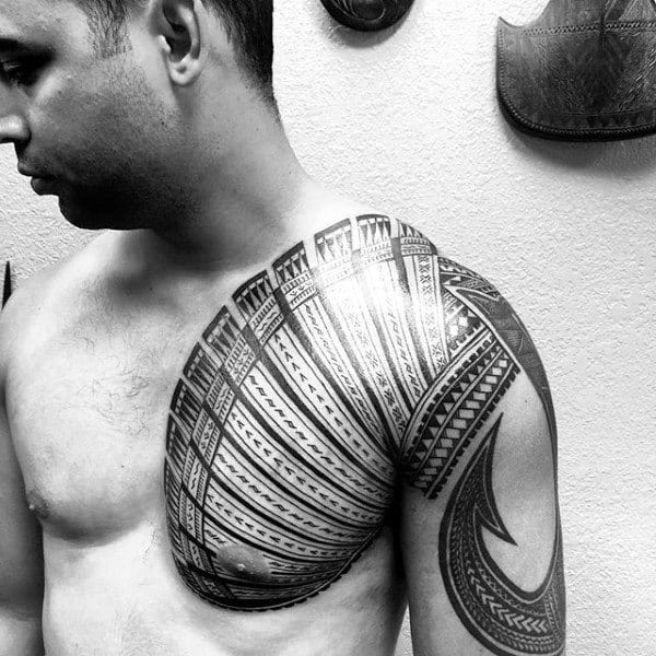 Mens Fish Hook Samoan Tribal Chest And Arm Tattoo