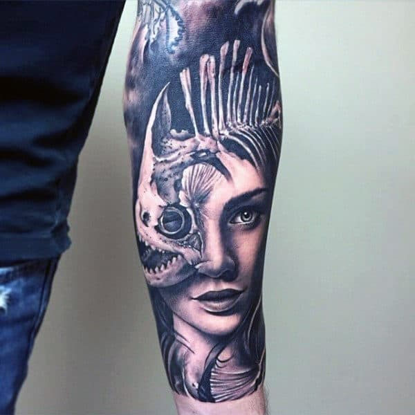 Mens Fish Skeleton With Female Portrait Forearm Sleeve Tattoo