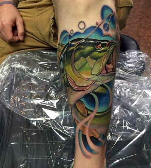 Men's Fishing Tattoo On Legs