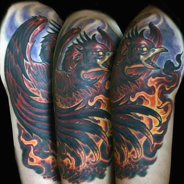 Birds Locket Timepiece Full Sleeve: Top 60 Best Flame Tattoos For Men