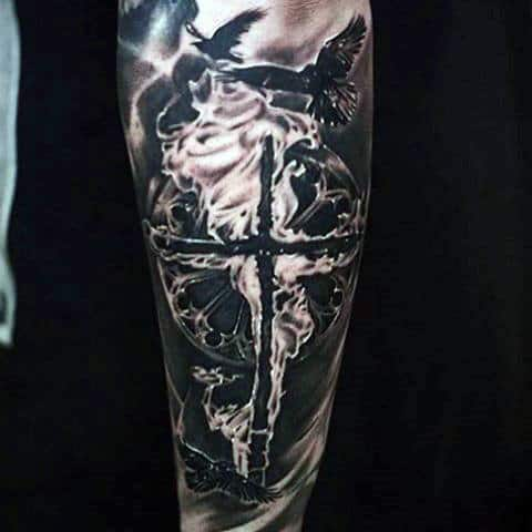 Mens Flaming Cross And Black Birds Religious Tattoo Forearms