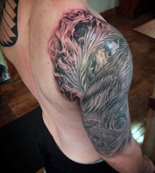 Mens Flaming Dragon Tattoo On Arm
